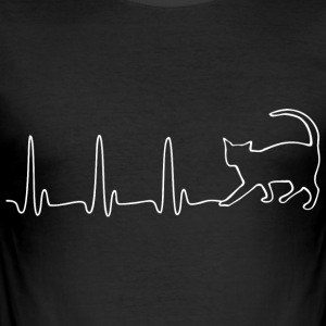 ECG HEART LINE CAT white - Men's Slim Fit T-Shirt