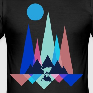 Cat at night in the mountains - Men's Slim Fit T-Shirt