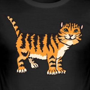 Cat on four Pfotten - Men's Slim Fit T-Shirt