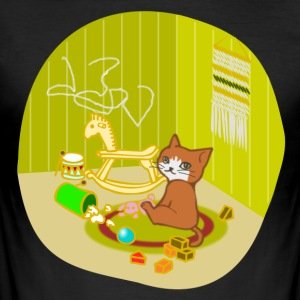 Cat playing in her nursery - Men's Slim Fit T-Shirt