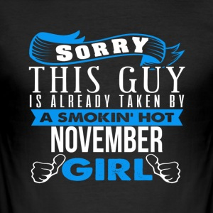This Guy Is Already Taken By Girl NOVEMBER - Men's Slim Fit T-Shirt