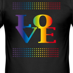 love love colorful rainbow gay pride csd valentins - Men's Slim Fit T-Shirt