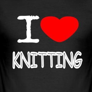 I LOVE KNITTING - Herre Slim Fit T-Shirt