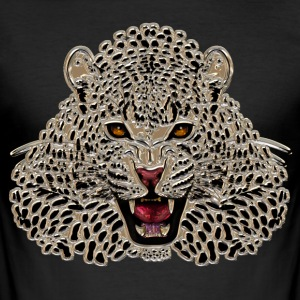 Cheetah at roar in mosaic - Men's Slim Fit T-Shirt