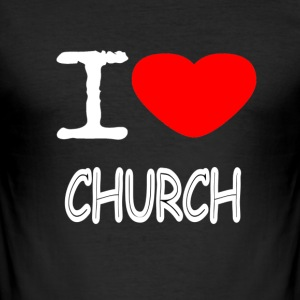 I LOVE CHURCH - Men's Slim Fit T-Shirt