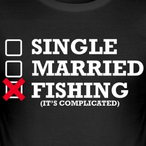 Single, Married, Fishing - Men's Slim Fit T-Shirt