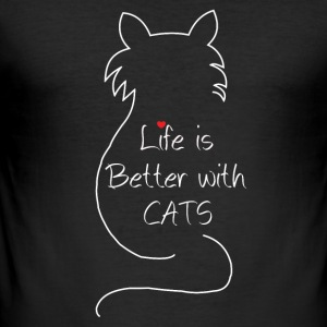 Life is better with cats - Männer Slim Fit T-Shirt