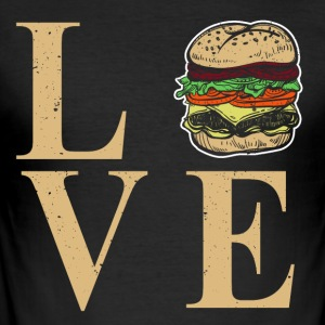I love burgers - I Dear BBQ - Men's Slim Fit T-Shirt