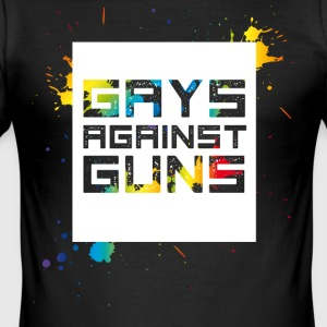 gays against tun Demo Pride csd Regenbogen schwul - Männer Slim Fit T-Shirt