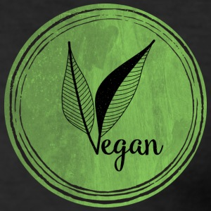 Vegan Logo LeafGreen - Men's Slim Fit T-Shirt