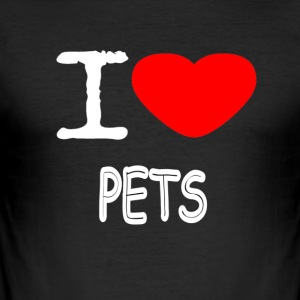 I LOVE PETS - Men's Slim Fit T-Shirt