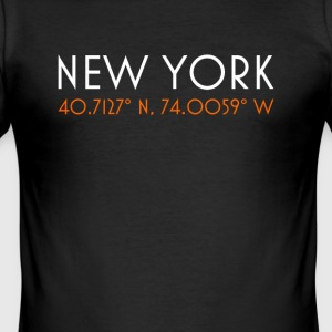 New York City minimalistiske koordinater t-shirt - Herre Slim Fit T-Shirt