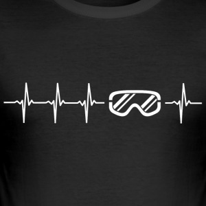 I love winter sports (ski heartbeat) - Men's Slim Fit T-Shirt