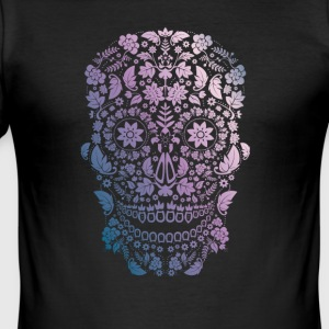 Skull Blumen happy Death gothic Cosplay Nerd mexic - Männer Slim Fit T-Shirt