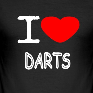 I LOVE DARTS - Männer Slim Fit T-Shirt