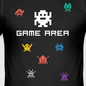 gamearea pixelart video game console pc retro nerd - slim fit T-shirt