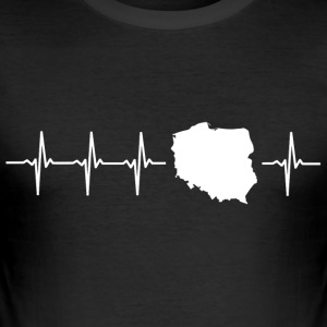 I love Poland (Poland heartbeat) - Men's Slim Fit T-Shirt