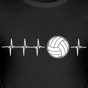 Ik hou van volleybal (volleybal heartbeat) - slim fit T-shirt