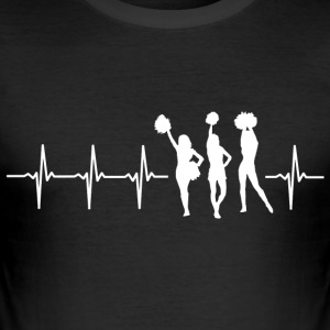 Ik hou van cheerleaden (cheerleading heartbeat) - slim fit T-shirt