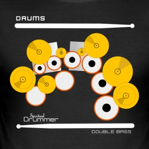 Drums Double Bass White - Tee shirt près du corps Homme