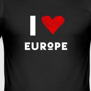 I Love Europe eu heart red love fun statement Demo - Men's Slim Fit T-Shirt