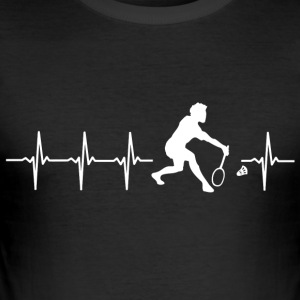 I love Badminton (Badminton heartbeat) - Men's Slim Fit T-Shirt