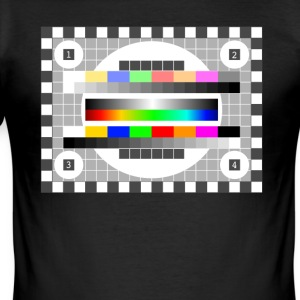Testbild tv, radio, televisie eerder retro kleuren - slim fit T-shirt