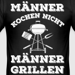MEN COOK IKKE - MEN BBQ - Slim Fit T-skjorte for menn