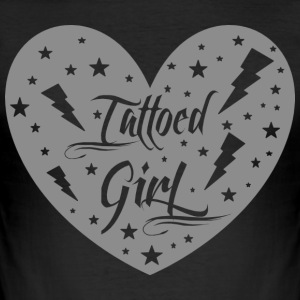 tattoed_girl_grey - Tee shirt près du corps Homme