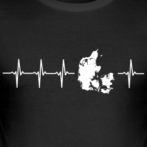 I love Denmark (Denmark heartbeat) - Men's Slim Fit T-Shirt