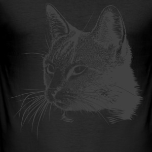 Cat Kitty Mitz kitten sweet meow cat head - Men's Slim Fit T-Shirt