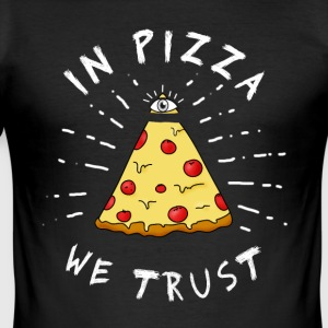 Pizza Illuminati Rolig Allt se synar Food Humor - Slim Fit T-shirt herr