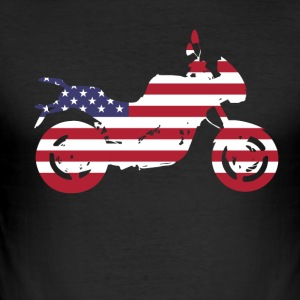 bike-usa motorcycle flag proud America travel vacation - Men's Slim Fit T-Shirt