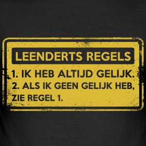 Leenderts regler. Original gave. - Slim Fit T-skjorte for menn