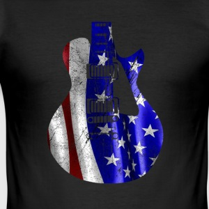 Patriotic USA flage on guitar - Men's Slim Fit T-Shirt