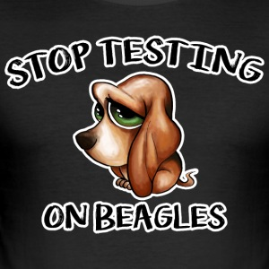 Stop Testing on Beagles - Men's Slim Fit T-Shirt