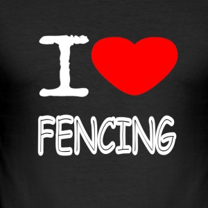 I LOVE FENCING - Slim Fit T-skjorte for menn