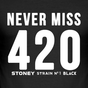 NEVER MISS 420 stam No.1 SVART - Slim Fit T-shirt herr
