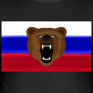 Ours russe / Russie / Россия, Rossia, drapeau - Tee shirt près du corps Homme