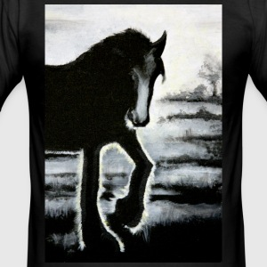 horse Haflinger painting backlit black ra - Men's Slim Fit T-Shirt
