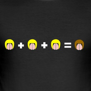 3 Blonde Brains = 1 Brunette - Men's Slim Fit T-Shirt