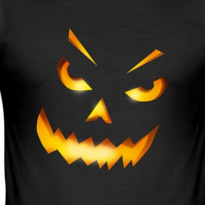 halloween gresskar horror ansikt glise brann - Slim Fit T-skjorte for menn