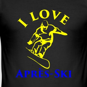 I LOVE APRES SKI yellow blue - Men's Slim Fit T-Shirt