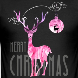 rentier pink Christmas advent nicholas girl woman - Men's Slim Fit T-Shirt