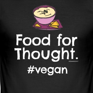 "Végétalien T-shirt ""Food for Thought. #vegan"" - Tee shirt près du corps Homme"
