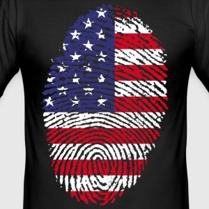 AMERIKA FINGERABDRUCK T-SHIRT - Männer Slim Fit T-Shirt