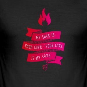 love love brand Retro tappning Flame rosa band - Slim Fit T-shirt herr