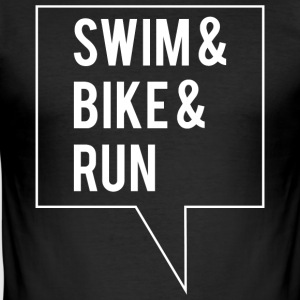 Swim Bike Run - Hvid Edition - Herre Slim Fit T-Shirt
