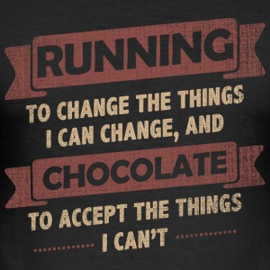 Funny Quotes> Running + Chocolate - Men's Slim Fit T-Shirt
