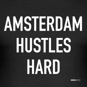 Amsterdam Hustles Hard - Men's Slim Fit T-Shirt